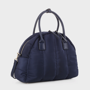 Isabelle 87819 quilted nylon satchel navy blue