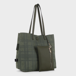 Isabelle 87842 reversible fashion tote olive green