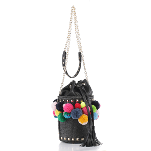 Isabelle 93132 fashion round crossbody drawstring black