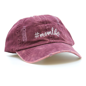 Cap 031c 98 D&Y mom life hat distressed burgundy