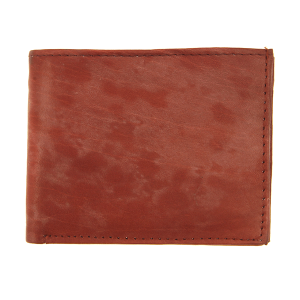 Simple bifold wallet A14 red brown