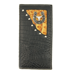 Simple large western croc bifold wallet horseshoe horse C307C9 black