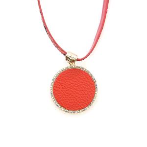 Necklace 136 99 Empire choker fringe leather circle rhinestones red