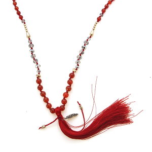 Necklace 981h 99 Empire chain bead long tassel necklace red