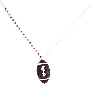 (Necklace 138 99 Empire) Leather football white brown