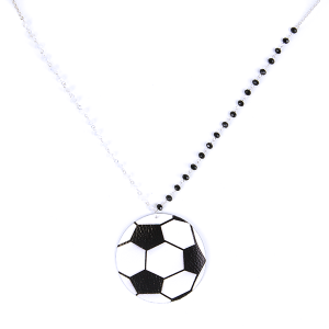 (Necklace 132o 99 Empire) Leather soccer ball black white