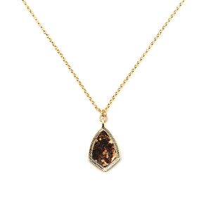 Necklace 1845b 99 Empire sharp tear drop small gold bronze