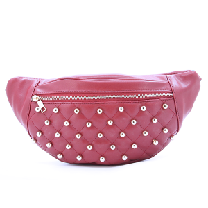 Fanny Pack Quilted Bead Leather Red
