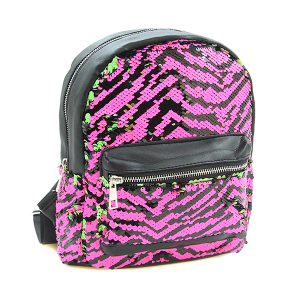 Fashion Collection ABG487 reversible sequin mini backpack NEON pink