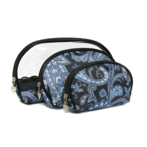 3pc oval cosmetic bag paisley blue 1001