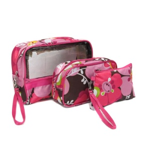 3pc rectangle cosmetic bag pink flower 1004