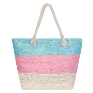 Odiva AO880 zipper beach tote tri color blue