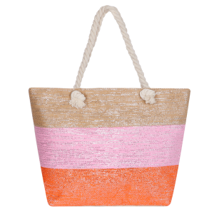 Odiva AO880 zipper beach tote tri color orange
