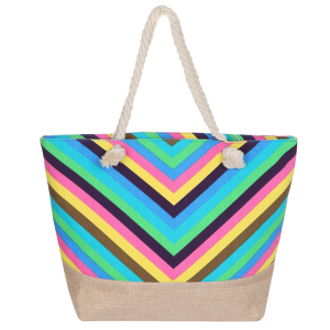 Odiva AO882 zipper beach tote chevron multi color