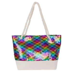 Odiva AO884 zipper beach tote sequin multi