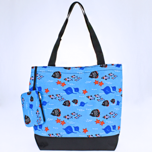 luggage 0317 tote fish light blue multi