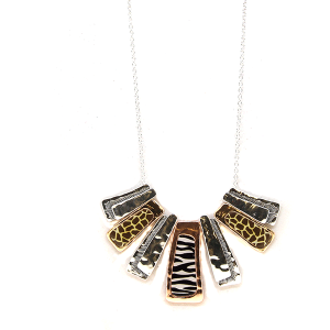 Necklace 2181B 40 Icon Collection animal print metal marble accent necklace multi