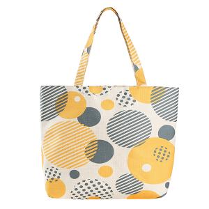 Odiva B8022 zipper beach tote geometric round circles green yellow