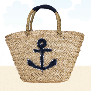 Beach Bag b803 straw anchor navy