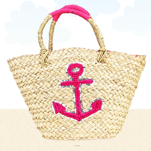 Beach Bag b803 straw anchor fuchsia