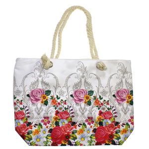 Minky BA1759 floral paisley rope tote multi white