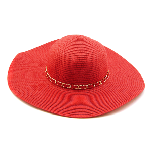 Sun Hat BB0036 Melani chain link straw red