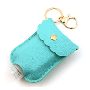 Hand Sanitizer Keychain 006b 34 leatherette turquoise