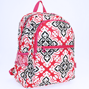 luggage 6818 multi-pocket backpack floral cross fuchsia
