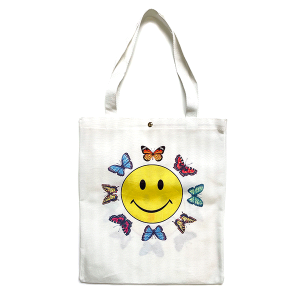 Tote Bag BG-1016 butterfly smiley face white