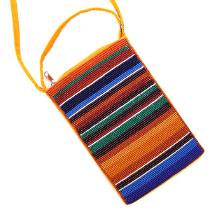 Glass bead Serape crossbody BG430X112 multi orange