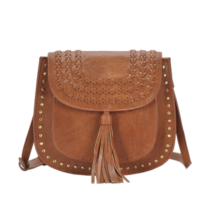 MMS BGA 15606 western braided tassel crossbody tan