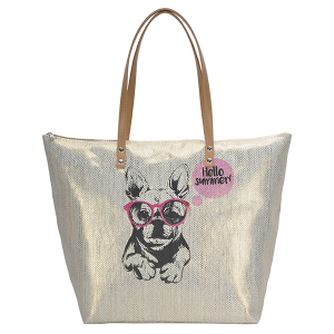 MMS BGS 2763 Hello Summer Dog tote gold
