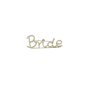 "Pin 012 86 Rhinestone embellished wedding party pin, ""Bride"" in gold."