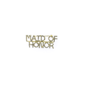 "Pin 019 86 Rhinestone embellished wedding party pin, ""Maid of Honor"" in gold."