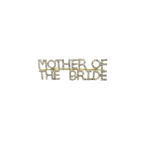 "Pin 015 86 Rhinestone embellished wedding party pin, ""Mother of the Bride"" in gold."