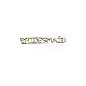 "Pin 017 86 Rhinestone embellished wedding party pin, ""Bridesmaid"" in gold."