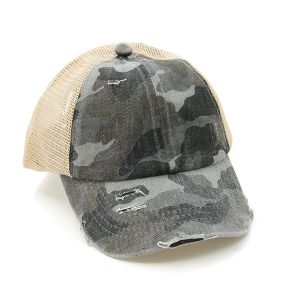 CC Pony Cap 374a washed denim criss cross ponytail camo gray beige