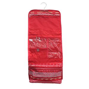 luggage AK CB25 16 hanging cosmetic case greek key red coral