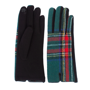 Winter Gloves 031 08 Fadivo soft plaid accent smart touch green