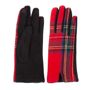 Winter Gloves 028 08 Fadivo soft plaid accent smart touch red