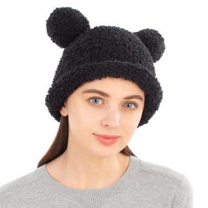 Winter Beanie 416 08 Fadivo chenille teddy bear black