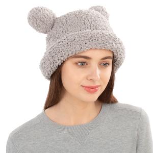Winter Beanie 415 08 Fadivo chenille teddy bear gray