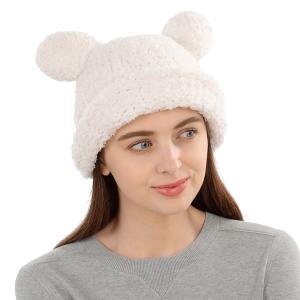 Winter Beanie 414 08 Fadivo chenille teddy bear ivory