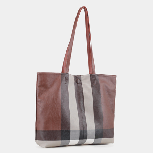 Isabelle CK19656 reversible tote plaid stripe brown