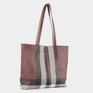Isabelle CK19656 reversible tote plaid stripe taupe