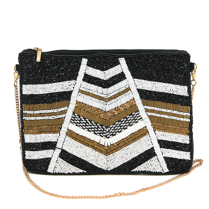 Kaylee CL8006 beaded clutch chevron accent black