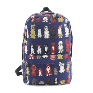 CM 87886 assorted dog print backpack blue
