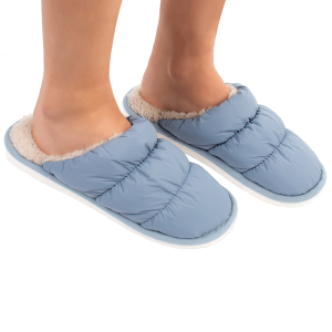 Winter Slipper CSL1508 quilted puffy solid color blue MEDIUM