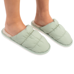 Winter Slipper CSL1508 quilted puffy solid color mint MEDIUM