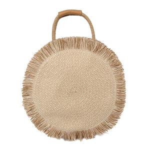 Handbag Republic CTES-0011 round straw satchel beige